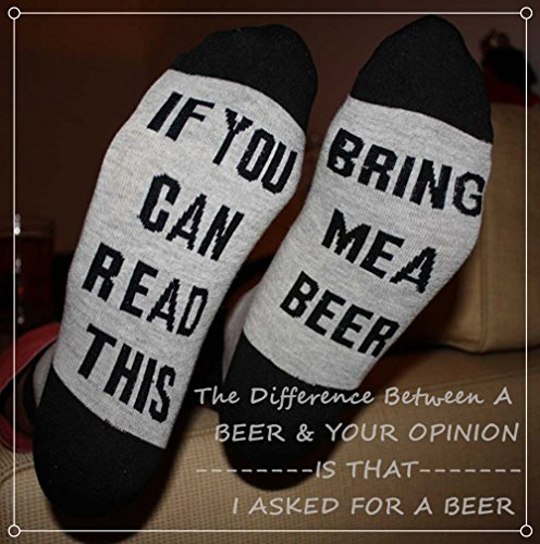 Funny Socks for Men Crew socks with Fun Saying On Bottom Bring Me a Beer Whisky by Hslieey (Image #1)