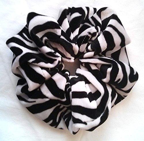 Zebra Velvet Hair Scrunchies-Large - Made in the USA