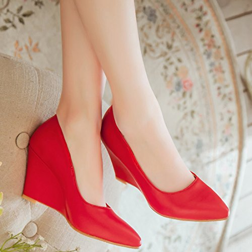 6664198f4340d9 ... YE Damen Keilabsatz Pumps Spitze High Heels Geschlossen mit 8cm Absatz  Elegant Schuhe Rot