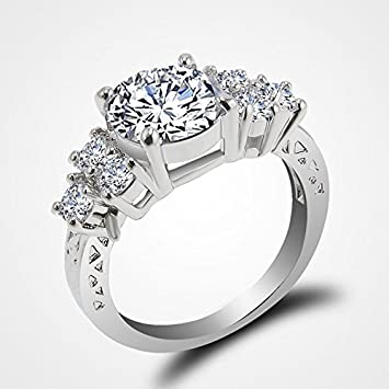 jacob alex ring 580 ct lab diamond white sapphire wedding ring 10kt white gold jewelry size - White Sapphire Wedding Rings