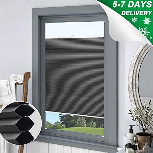 Keego Blackout Cellular Shades Top Down Bottom up, Custom Cut to Size Window Blinds, Charcoal, 24″ W x 64″ H, Room Darkening Thermal Honeycomb Blinds for Bedroom Windows French Door Skylight
