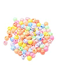 MagiDeal 100 Pieces Mixed Shapes Hair Tie Hair Rope Band End Finishing Bead DIY Hair Jewelry