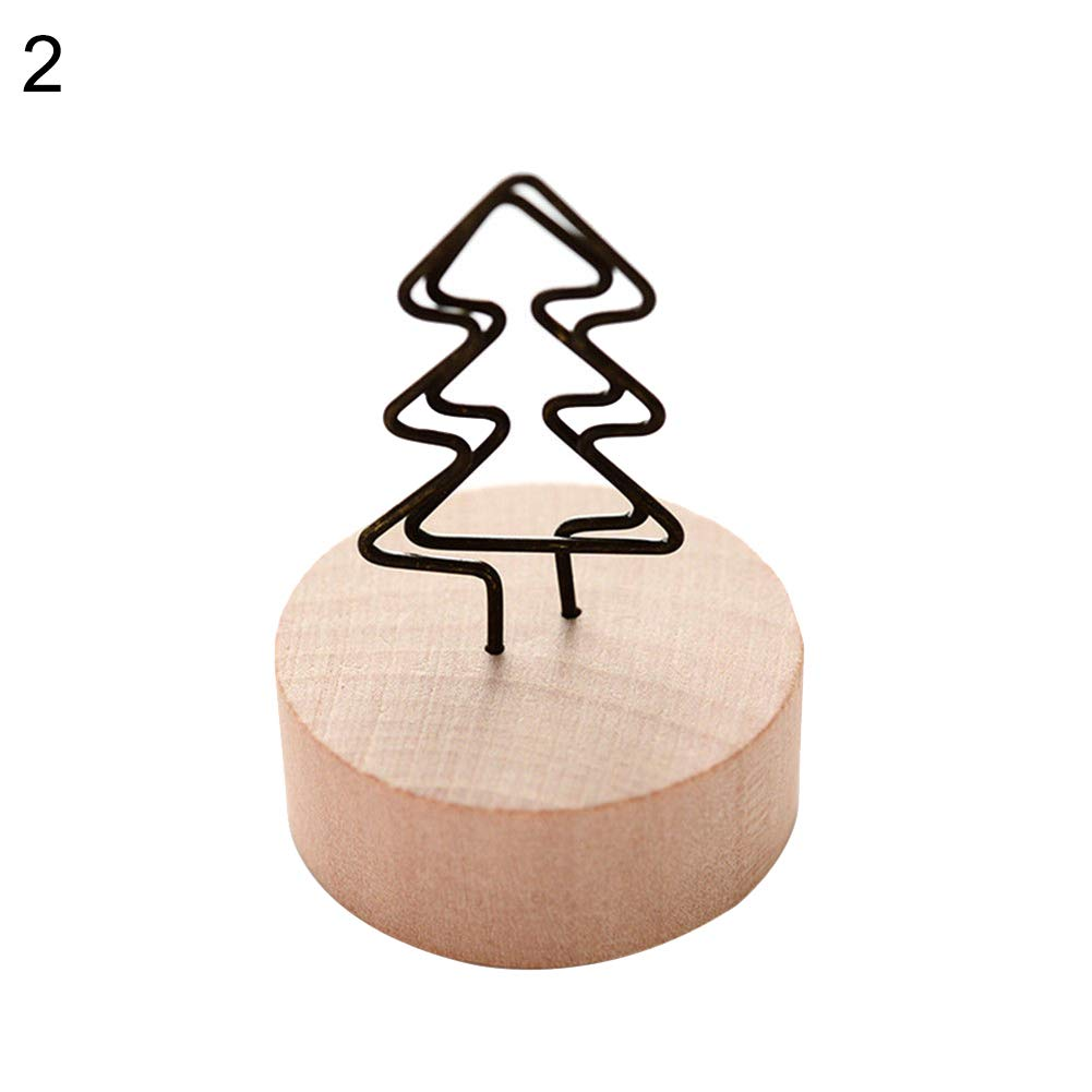 WskLinft Photo Clip, Memo Card Photo Frame Message Left Supporter Picture Clip with Wooden Base Decor - Tree#