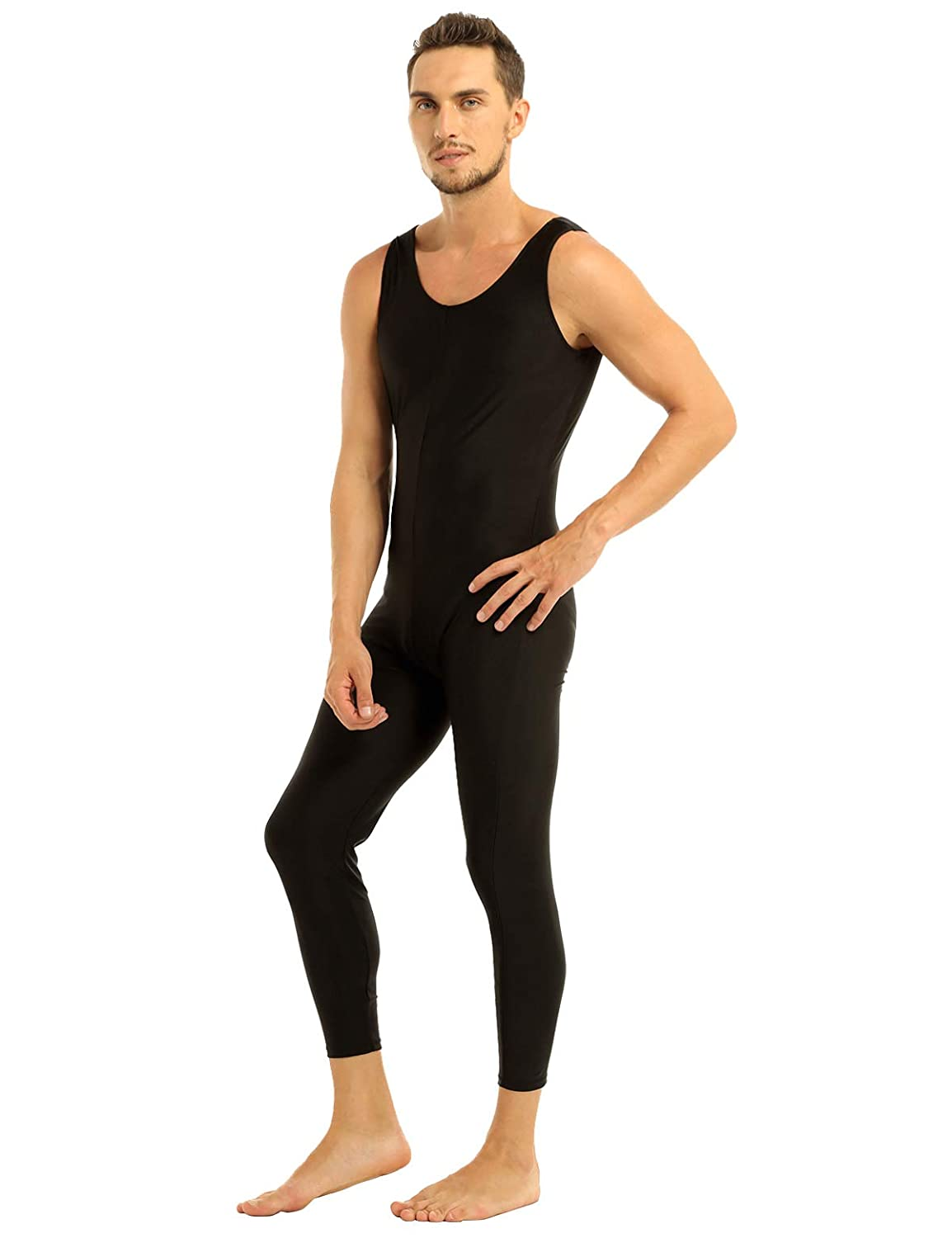 iiniim Mens Full Body One Piece Sleeveless Slim Fit Tank Unitard Leotard Bodysuit Dancewear