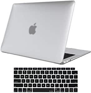 ProCase MacBook Air 13 Inch Case 2020 2019 2018 Release A1932 A2179, Rubber Coated Hard Shell Case for MacBook Air 13-inch Model A1932 with Keyboard Skin Cover –Clear