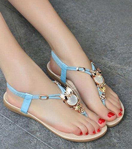 Chaussures Perles Toe Rond Bout de T Bleu Strass Douces Clip en Femme été pour Sandales Plage YOUJIA lanière Bohemia qw7Zcf