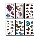 how many bees d - VanTattoo (6Sheets) Fashion Body Art Stickers Removable Waterproof Temporary Tattoo –3D color tattoos?Flower, eagle and snake, beetle, bee, butterfly