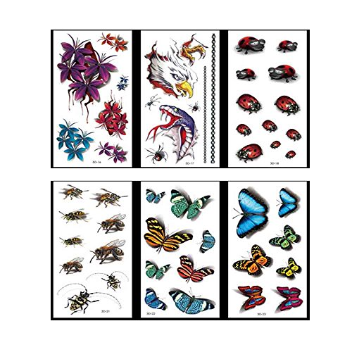 3D Color Butterfly Pattern Temporary Tattoos Stickers - 4