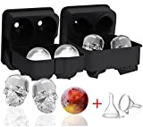 Image of Ozera 2 Pack 3D Skull Ice Cube Mold & Silicone Ice Ball Maker, Novelty Skull Ice Trays, Round Ice Cube Maker with 2 Plastic Funnel for Whiskey Wine, Cocktails and Beverages and More