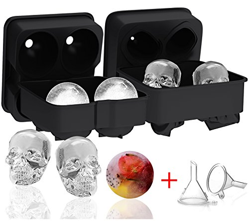 Ouddy 2 Pack Ice Ball Maker Skull Mold, Silicone Ice Cube Trays, Giant Black Skull & Round Ice Cube Maker with 2 Plastic Funnels for Whiskey Wine, Cocktails and Beverages
