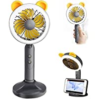 Beebeerun Portable Hand-held USB Mini Fan with Rechargeable Battery & Phone Holder