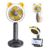 Hand-held USB Mini Fan with LED Light, Portable Misting Personal Cooling Fan with Rechargeable Battery & Phone Holder, 2 Speeds Strong Wind Hand Desk Indoor Outdoor Home