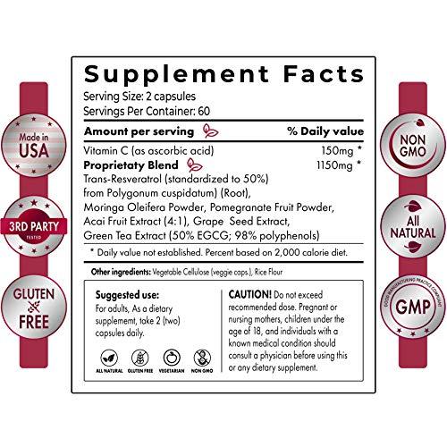 51Ny77MlmoL - Extra Strong Resveratrol 1150mg - Anti-Aging Antioxidant Supplement - Promotes Immune & Cardiovascular Health - 120 Veggie Capsules with Trans Resveratrol, Vitamin C & Moringa - 100% Money Back