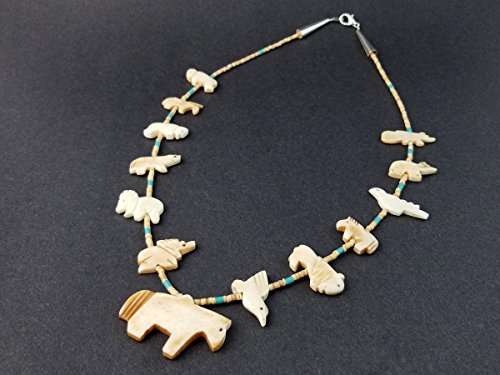 Hand Carved Bone Single Strand Horse with Mixed Animals Fetish Choker Necklace