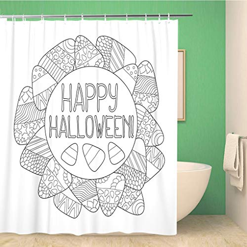 Awowee Bathroom Shower Curtain Candy Corn Coloring Page Happy Halloween Sweet Kernel Pattern Polyester Fabric 72x72 inches Waterproof Bath Curtain Set with -