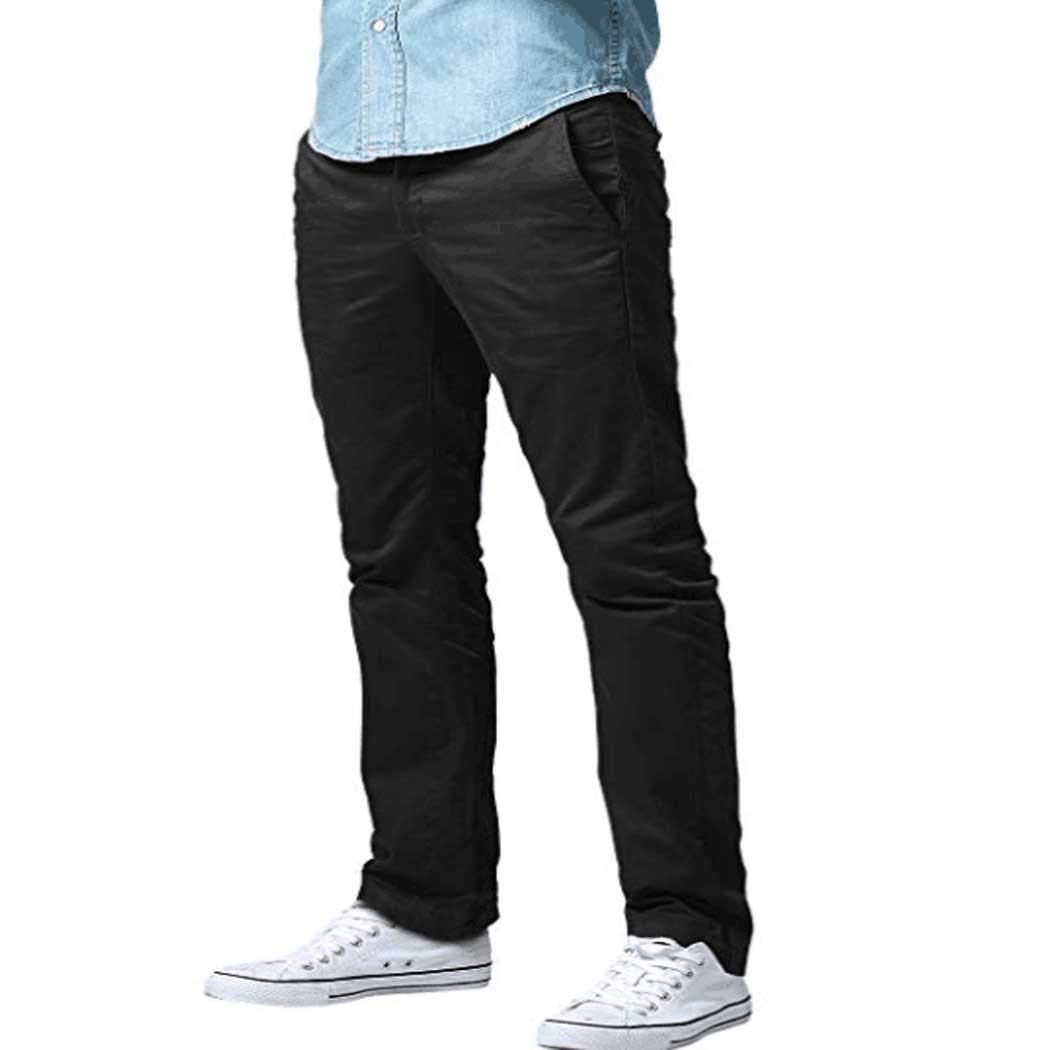 Athletic Fit Straight Leg Casual Pants Black