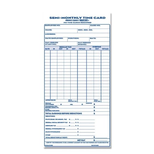 """Rediform Semi-Monthly Time Card, Unnumbered, 4-1/4""""x8"""", 1..."""