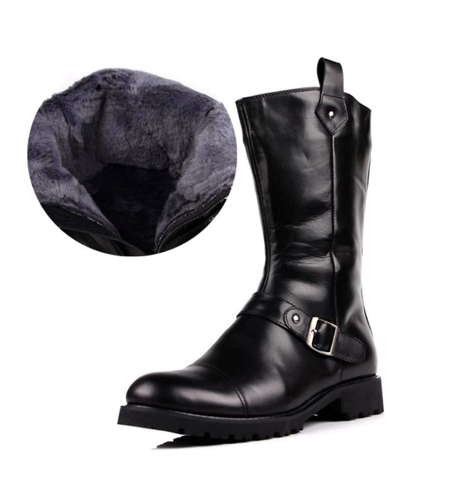 HYLFF Männer High Stiefel Leder britische Mode täglich Arbeitsschuhe Retro-Spitzen Stiefel Winter warme Outdoor-Stiefel Chukka Stiefel Chelsea Ankle Stiefel,schwarzFurLined,44EU