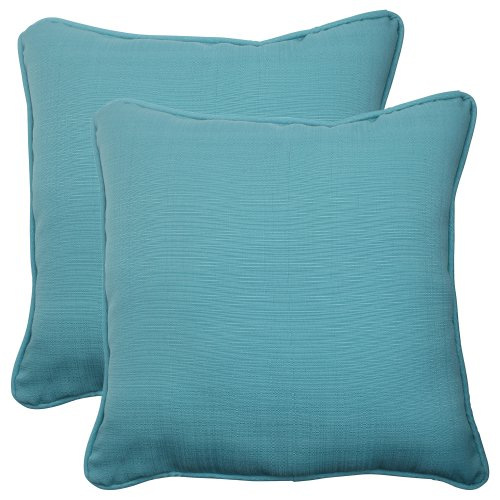 51Ny8FEOfcL - Pillow Perfect Indoor/Outdoor Forsyth Corded Throw Pillow, 18.5-Inch, Turquoise, Set of 2