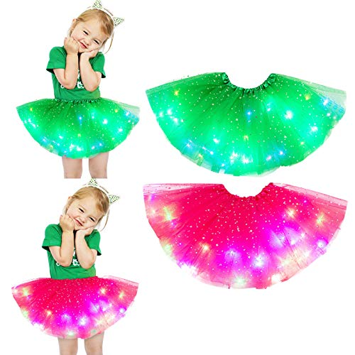 2pcs Kids Girls Baby Sequin Tutu Skirt Toddler Girl Rainbow Dress LED Light Up Pettiskirt Ballet Clothes for 2-8Years