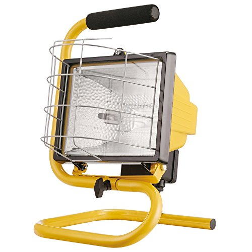 Globe Electric 500W Portable Halogen Work Light with Floor Stand & Foam Handle, Yellow Finish, Bulb Included, 6050401