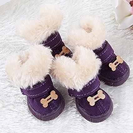 Limiz Botas de Nieve para Mascotas Botas de Nieve de Invierno 4PCS Botas Antideslizantes Wind Velcro