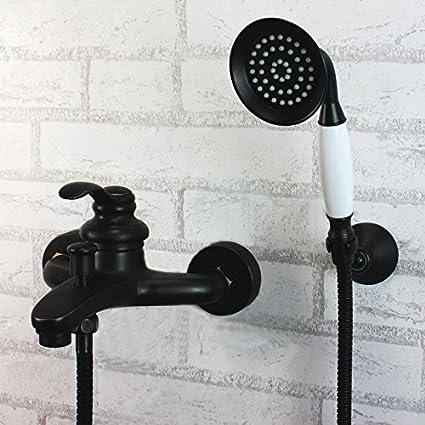 Qwer Grifo todo el cobre antiguo negro Dual Control Mezclador de Bañera Calentador de Agua es