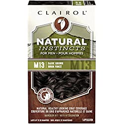 Clairol Natural Instincts Hair Color For Men M13 Dark Brown 1 Kit (Pack of 3) - PACKAGING MAY VARY