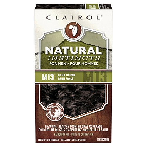 Clairol Natural Instincts Semi-Permanent Hair Color Kit For Men, 3 Pack, M13 Dark Brown Color, Ammonia Free, Long Lasting for 28 Shampoos by Clairol