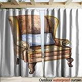 Outdoor Waterproof Curtain Watercolor Armchair of Sherlock Holmes Drapery W120 x L96