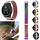 Nacome Watchband,New Milanese Magnetic Loop Stainless Steel Band For Garmin Forerunner 935 (Rose Gold)