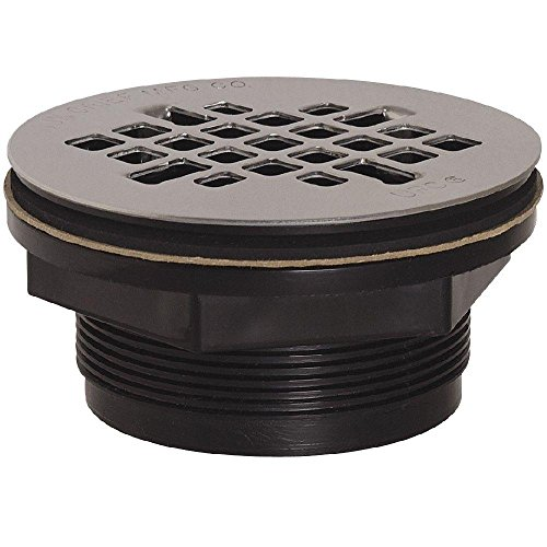 Soux Chief 828-2APK 2 in. Black ABS Shower Drain with Strainer On CHROME Strainer