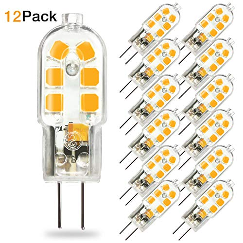 TaoTens G4 LED Bulb, Bi-Pin Base, 20W Halogen Bulb Equivalent, AC/DC 12 Volt, Warm White 3000K(12 Pack) ()