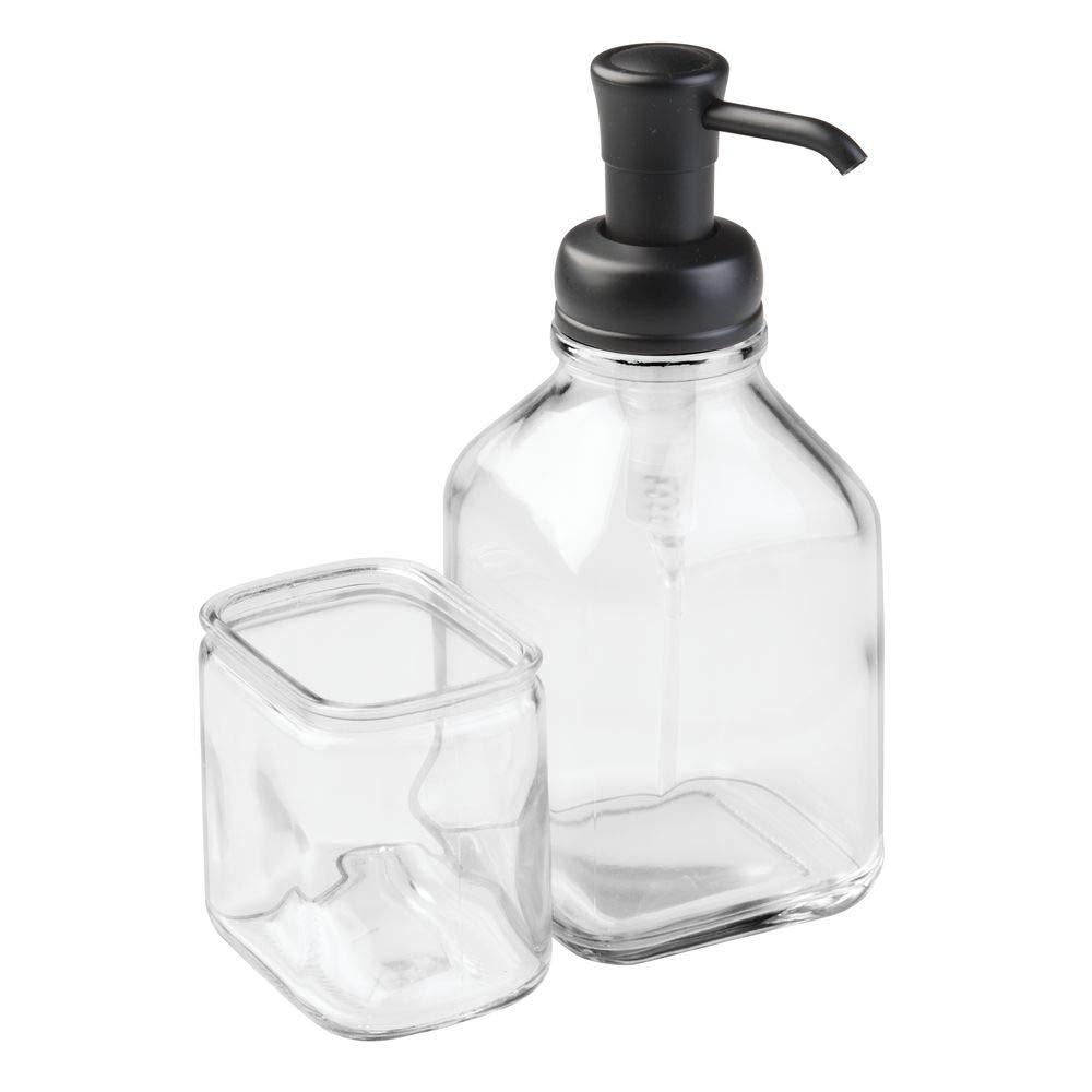 Transparente y Negro Mate mDesign Dosificador de jab/ón Recargable Moderno dispensador de jab/ón con v/álvula dosificadora y portaestropajos Dosificador de Cocina de Cristal