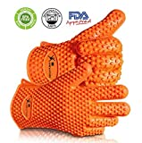 Max Heat Silicone BBQ Grill Oven Gloves, Bonus Cookbook, Best Heat Protection, 13 Ounces, L/XL Size