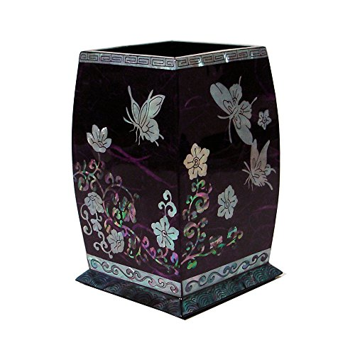 Mother Of Pearl Butterfly Inlay - Mother of Pearl Inlay Purple Wooden Wild Flower and Butterfly Design Desk Desktop Pen Pencil Brush Cup Case Box Holder