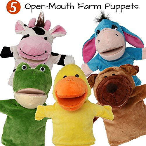 BETTERLINE 5-Piece Set Animal Hand Puppets with Open Movable Mouth / Zoo, Safari, Farm, Jungle / Cow, Duck, Brown Dog, Frog and Donkey
