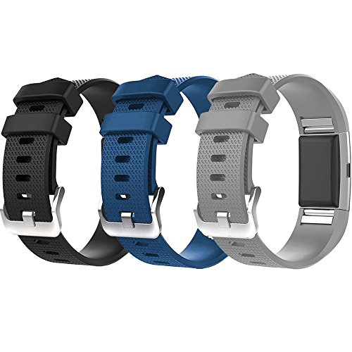 For Fitbit Charge 2 Bands, New Bracelet Strap Replacement Band Wristband with Secure Silicone Fasteners Metal Clasps for Fitbit Charge 2