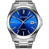 SONGDU Men's Date Stainless Steel waterproof Quartz Business Casual Wrist Watch Blue Dial
