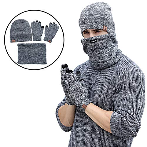 Winter Beanie Hat Scarf Gloves Knit Skull Cap Infinity Scarves Touch Screen Mittens for Men Women 3 PCS Knitted Set ()