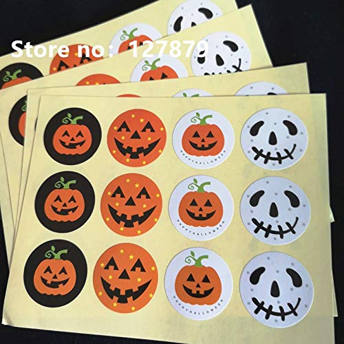PatyHoll 600Pcs New Halloween Theme Badge Seal Gift Paper Sticker Students ' DIY Multifunction Diary Cake Biscuit Package Label -