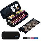 #7: Large Pencil Case Pencil Bag with Zipper Pencil Pouch for boys & girls (black)