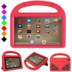 Fire 7 2017 Kids Case, Fire 7 2015 Kids Case - DiHines Light Weight Shock Proof Handle Friendly Stand Kid-Proof Case for All New Amazon Fire 7 inch Display Tablet Cover(2015&2017 Release) (Red)