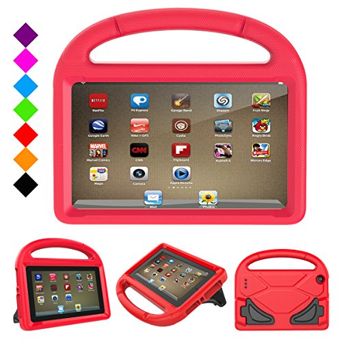 F i r e HD 8 2017 Kids Case- Dinines Light Weight Shock Proof Handle Friendly Stand Kid-Proof Case for All New A m a z o n F i r e 8 inch Display Tablet Cover(2016&2017 Release) (Red)