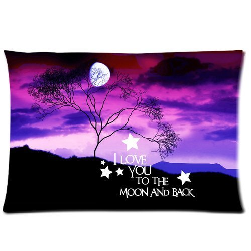 Marsh Flannel Fabric (Beautiful Evening Galaxy Nebula landscape I Love You to the Moon & Back Custom Zippered Pillow Cases 20x30 (Twin sides))
