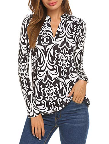 Halife Womens Long SLeeve Floral Printed Pleated V Neck Tunic Tops Henley Shirts Black (Floral Henley Tunic Top)