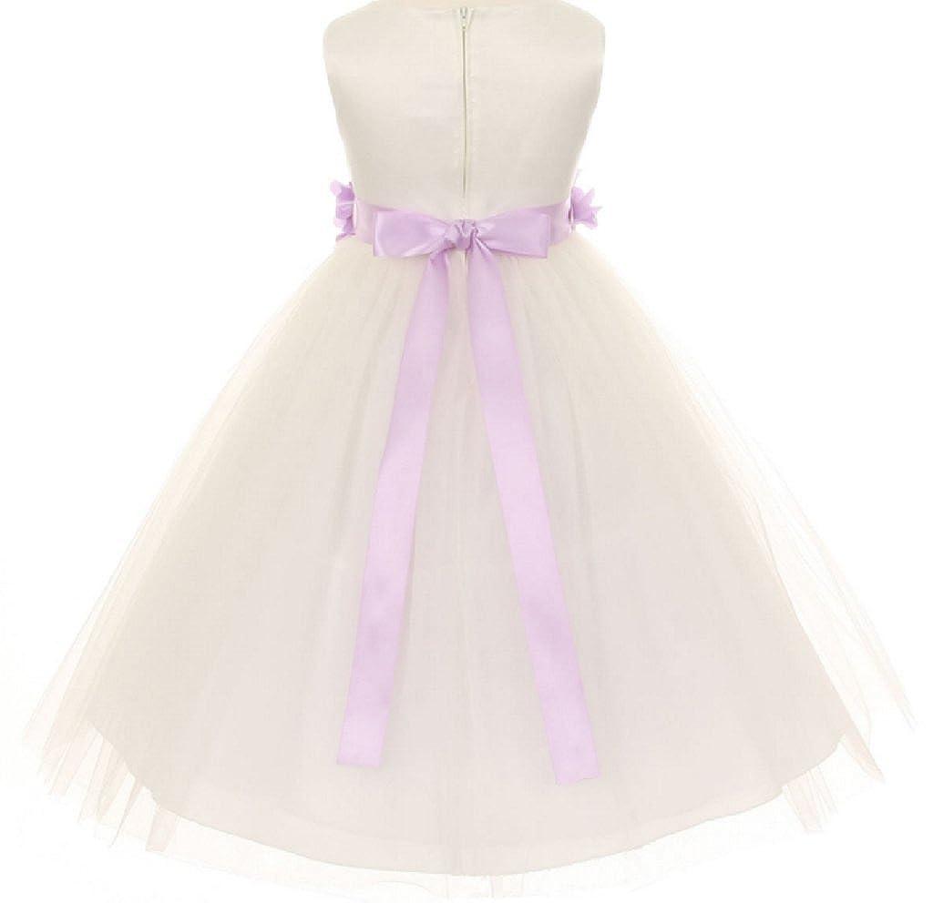 d65457ca12c Amazon.com  Dreamer P Little Girls Ivory Elegant Satin Tulle Ribbon Sash Flowers  Girls Dresses  Clothing
