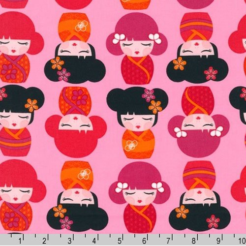 Hello Tokyo pink kokeshi doll fabric Three Yards (2.7m) ALL-14000-287 Sweet