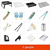 Grills Out Grills Barbecue Grill Can Folding 3-5 People Portable Charcoal Barbecue Iron BBQ Grill Camping Outdoor Garden Grill BBQ Utensil , 9