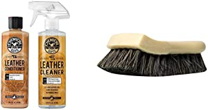Chemical Guys Leather Cleaner and Conditioner Leather Care Kit with Horse Hair Leather Cleaning Brush